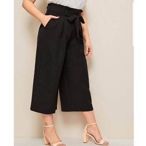 Who What Wear Wide Leg Linen Crop pants paperbag